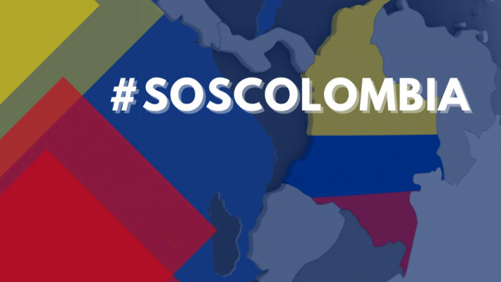 #SOSColombia image in Colombian flag colours